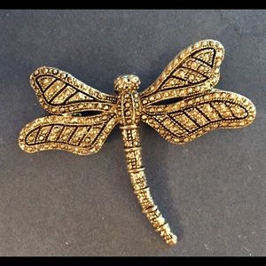 Dragonfly Broach with marcasite and crystals!